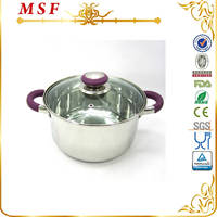 MSF stainless steel technique cookware with induction bottom and glass lid