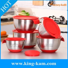 201 stainless steel mixing bowl set with silicone base and handle