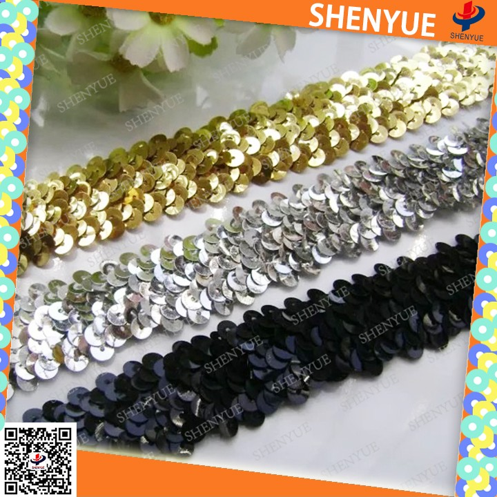 sequins for dress elastic sequim film Hot-selling elastic sequin bandrising sun shoes