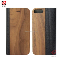 Flip type Mobile phone bags & cases for Iphone 7, Wood PU flip wood stand phone cover for iphone 7