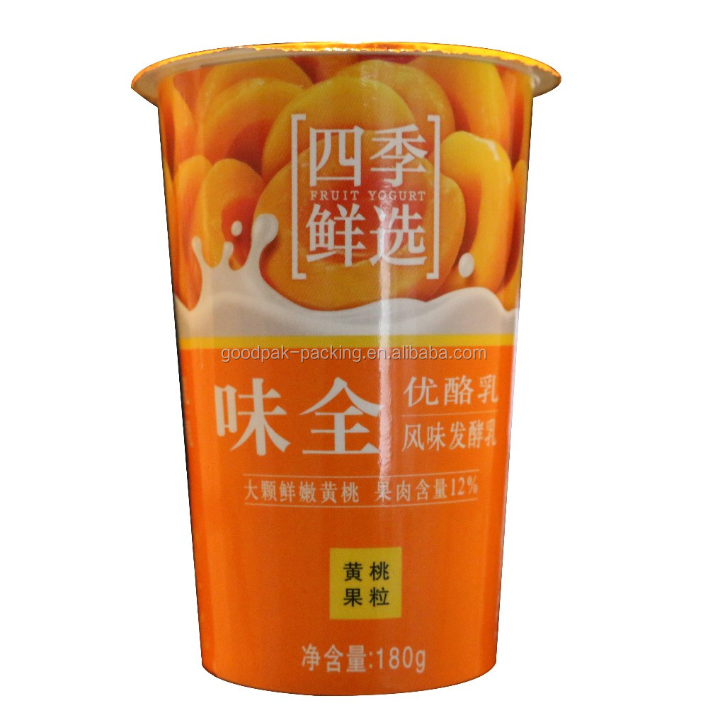 customized airtight take away 180ml yogurt cup with lid flexo printing
