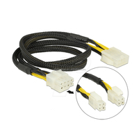 Plug/Socket 8-pin Black Braided EPS Splittable Extension Cable