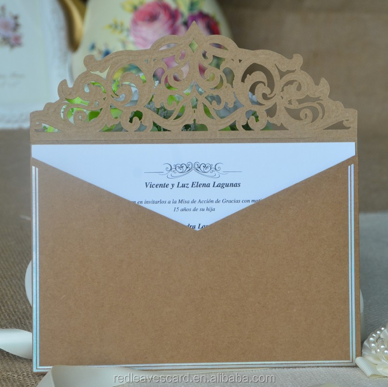 Popular grade luxury handmade acrylic wedding invitation card with envelope