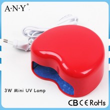 Professional Home Using Mini Red Heart Shape 3W Nail Art Curing Led UV Lamp