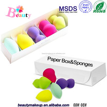 Alibaba Best Seller,5Pcs Washable Hot Sell Latex Free Makeup Sponge/Beauty Sponge/Blender Sponge/Private Label On The White Box