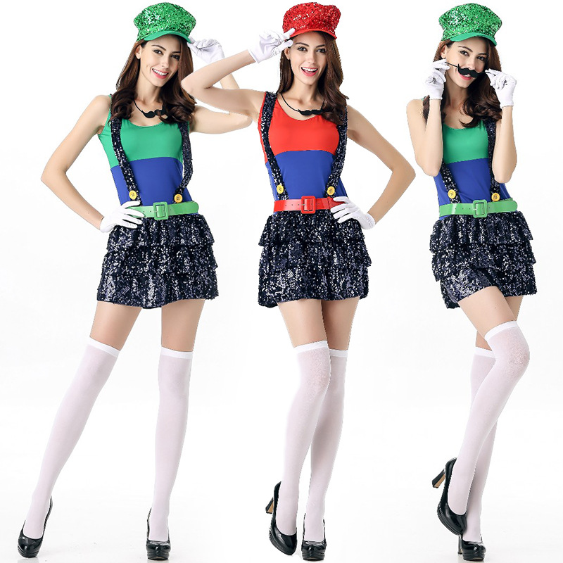 2016 new flash piece of adult women's Marie Mario eport Halloween Costume game