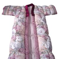 Women's Printed Winter Overcoat feather robe