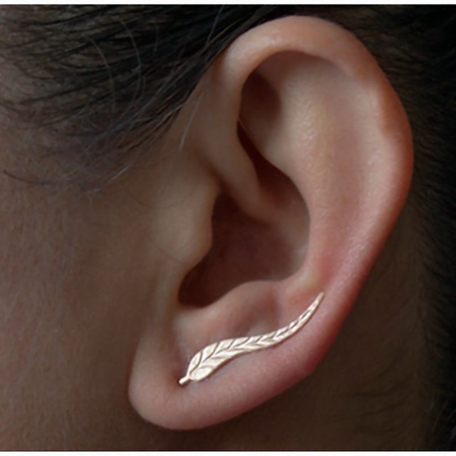 2016 Vintage Jewelry Exquisite 18K Gold Plated Leaf Earrings Modern Beautiful Feather Stud Earrings for Women e02