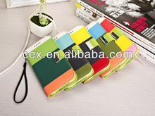 Wholesales PU Leather Rainbow Stripes Flip Wallet ID Card Holder Case Folio Cover For Samsung Galaxy S5 i9600