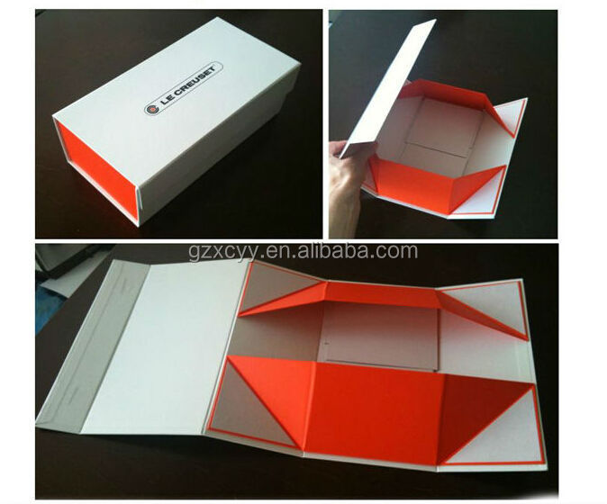 white printed hard paper magnetic folding box