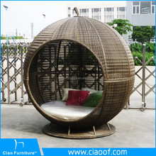 Hot Sale Outdoor Egg Bed / Rattan Daybed With Canopy / Outdoor Cabana Beds