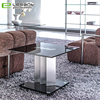 Square black glass side table with aluminum alloy support