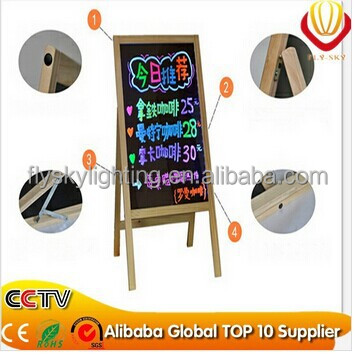2016 ali-express & best seller 5050LED lightset & tempered glass Wooden led writing board for shops advertising & promotional
