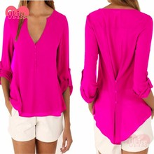 Simple Pink Casual Chiffon Ladies V-Neck Chiffon Blouse Women