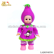 "11""inch newest fruit baby doll novelty walking eggplant doll"