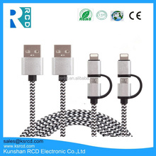 2.4A 2 In 1 Mobile Phone Cables For IPhone 5 6 6s Plus For Samsung Data Charging Braided Charger Nylon Cord Micro Usb Cable