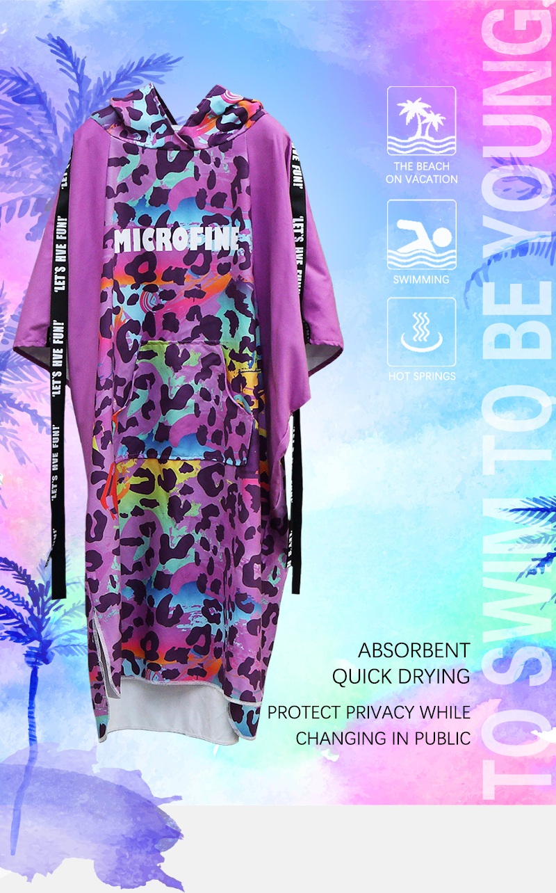 2019 Newest Microfiber Surf Poncho for Adults Quick Dry Travel Bathrobe