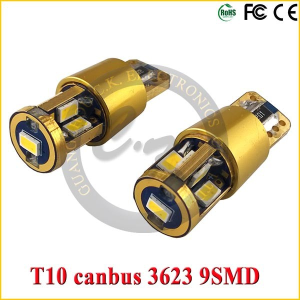 2015 Newest design 14k golden led car bulb T10 led canbus 9smd 3623 with samsung chip