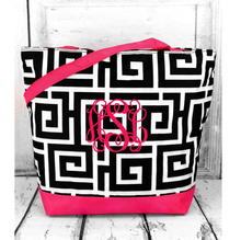 MARKET SHOPPING TOTE IN BLACK GREEK KEY WITH PINK TRIM