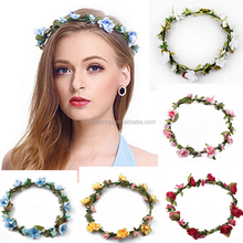 Bridal Flower Garland Headband Hair Wreath <strong>Crown</strong> for Wedding Festivals Multicolor
