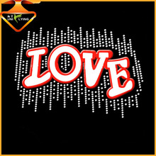 Wholesale Custom Hot Fix Love Glitter Heat Rhinestone Transfer Design