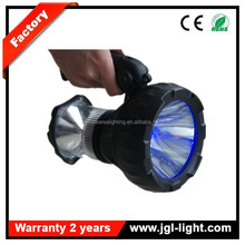 Outdoor equipment rechargeable hand carried flashlight with two bulbs