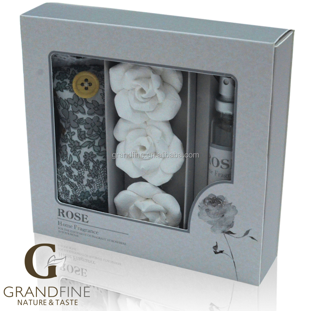 Luxury Grandfine 15ml natural essencial oil spray set top selling products in america with flower clay and sachet bag