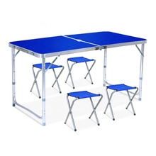 Foldable outdoor pavilion promotion exhibition <strong>table</strong> and chair combination portable aluminum alloy simple picnic <strong>table</strong>