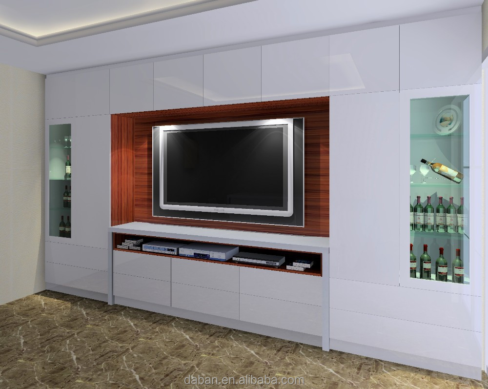 Plywood mdf particle board tv cabinet design in living for Cupboard designs for living room in india