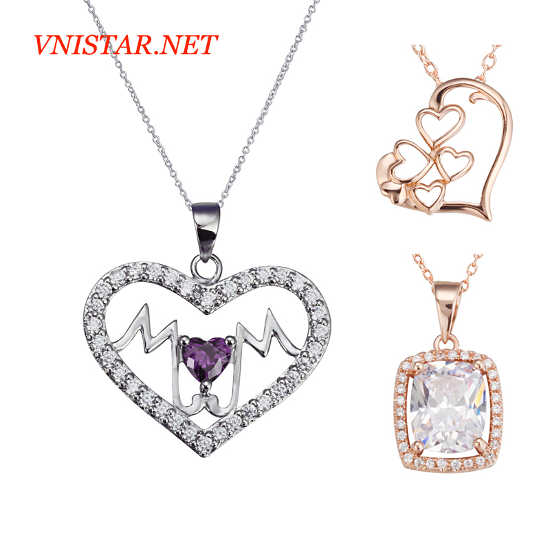 Wholesale Mix <strong>100</strong>+ Styles Cubic Zirconia Necklaces Heart Love Family MOM Flower Wing Angel Crown Cross Jewelry Necklaces