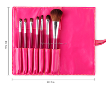 7 PCS Rose Color Makeup Brush Kit with PU Roller Bag Cosmetic Travel Brush Set