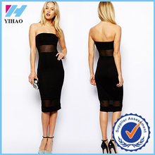 Trade Assurance Yihao 2015 Black Sexy Strapless Backless Gauze Patchwork Bodycon Knee-length Evening Party Dress