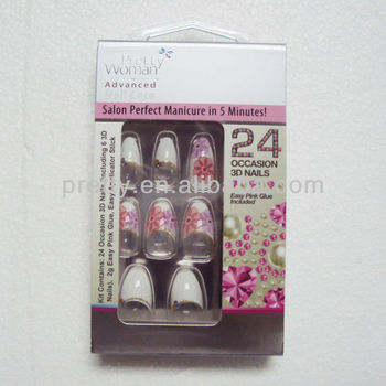 Fashionable nails Design Full Cover False Nails 3D Jewelry Nail Tips 24pcs a packing