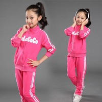 2015 spring and autumn children's clothes sets kids girls velvet suit baby sports wear clothes suits