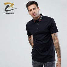 Custom logo embroidery design your own black polo t shirt for men