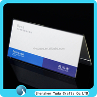 clear nameplate holder,display supermarket labels,acrylic desk display stand