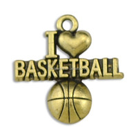 Free Shipping Yiwu Zinc Alloy Antique Bronze Plated Sports I Love Basketball Charms