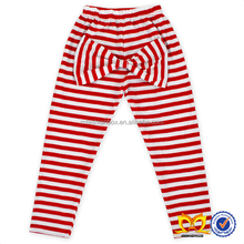 Boutique Casual Girls Pants With A Big Bow Decorated Red Stripe Baby Girl Pant Wholesale