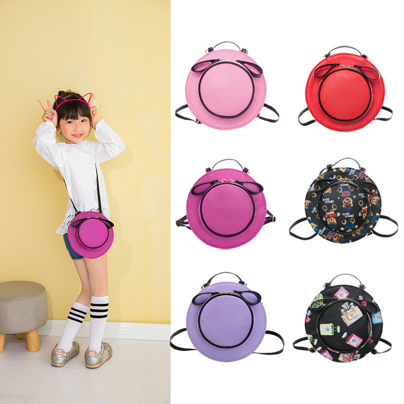 S64199A PU leather hat shaped children school bags kids messenger bags