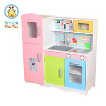 85 Height Square Wooden Toy Kitchen With Play Utensils For Girl, Hot Sale MDF Kitchen Toy Set