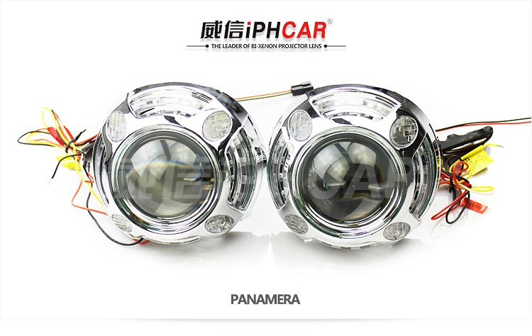 IPHCAR Q5 Projector Lens with Turning Singal LED Projector Mask/Shroud Use D2S/D2H Bulbs