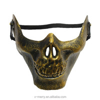 X-MERRY Costume Halloween Airsoft Skull Mask Motorcycle Skeleton Half Face Mask Black