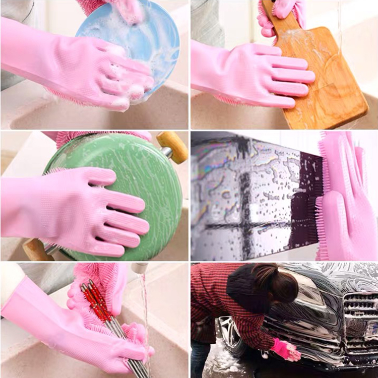 Kitchen silicone cooking glove Magic Silicone Dish Washing Gloves For Household Silicone Scrubber Rubber dishwashing gloves