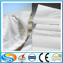 Cotton and polycotton 40*40*110*85 hotel bedding sets white bed sheet, Satin Stripe/Jacquard/Plain white flat sheet