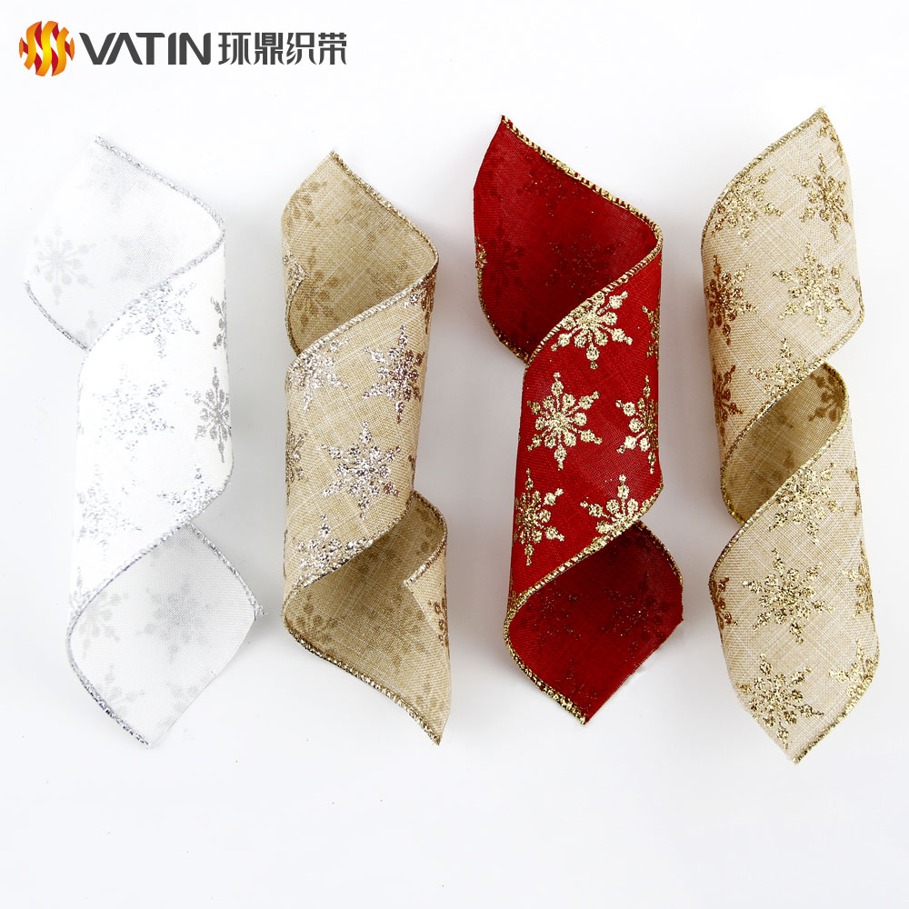 VATIN Organza Gold Natural Christmas Decorative Gift Custom Wired Ribbon