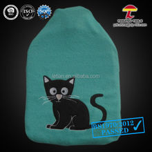 PAH 1000ml fleece pvc hot water bottle cover in green colour with the black cat