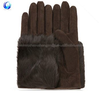 Hot sale ladies brown short genuine fur back suede palm leather gloves
