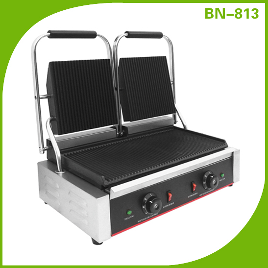 Cast Iron Grooved Double Panini Grill Maker For Commercial Snack Machine