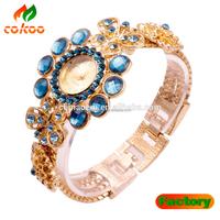 2015 Fashion Luxury Crystal Shining Diamond Alloy Lady Bracelet Alloy Wrist Watch Blue