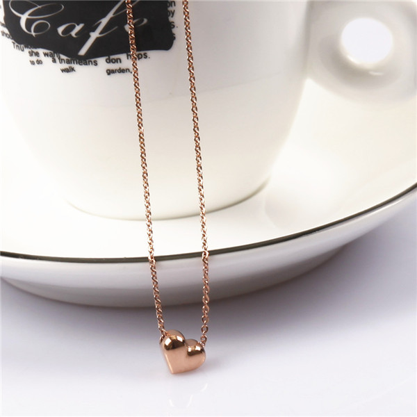 Vintage Small Rose Gold heart Lock Pendant With Stainless Steel